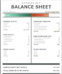 Comparative Balance Sheet Template Simple Word Format Excel