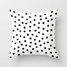 16x16 18x18 20x20 Decorative Pillow Cover: Black Triangles, Polka Dots,  Black and White