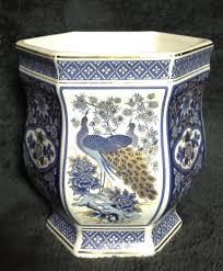Chinoiserie Design On Pottery And Porcelain Vintage Antique Japanese Plant Pot Vase Panda Pottery Mark