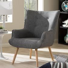 Armchair Upholstery Baxton Studio Nola Mid Century Gray Fabric Upholstered Accent