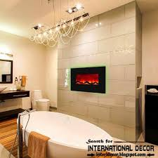 contemporary bathroom with fireplace designs ideas electric fireplace on wall 2016 part 67