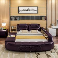 king size bed with storage drawers. Unique Combo Leather King Size Bed: Storage Cabinets, Drawers, Chairs, Massage Seat Bed With Drawers M