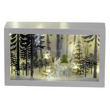 Formano Led 3d Holz Deko Für Winter Und Weihnachten Winter Landschaft Eckig Weiß Mit Timer Funkrion Mit Licht Beleuchtet