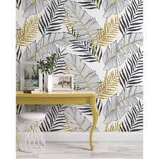 Black White Gold Exotic Tropical Leaves ...