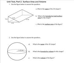 Key answer worksheet solutions composite figures are composed of several. Unit Test Part 2 Surface Area And Volume Assignment Help Please Brainly Com