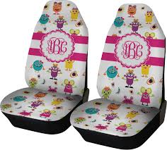 girly monsters car seat covers set of two personalized