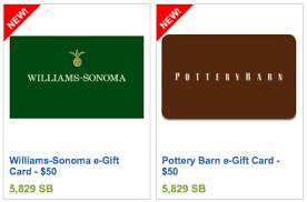 new swagbucks 50 gift cards pottery barn williams sonoma sears more