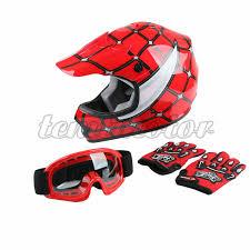 Details About Youth Dot Red Spider Net Helmet Goggles Gloves Atv Dirt Bike Motocross S M L Xl