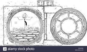 1300x781 cartoon drawing of open vault door with gold bars and happy stock