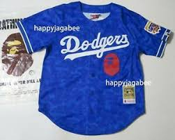 Details About A Bathing Ape Bape X Mitchell Ness Los Angeles Dodgers Jersey Shirt New