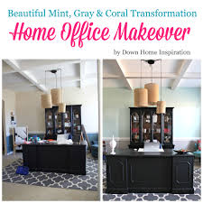 home office makeoverbeautiful mint gray coral transformation down home inspiration beautiful home office makeover