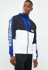 <b>NB athletics windbreaker</b> - white, blue & black New Balance ...