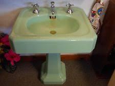 vintage pedestal sink. Plain Vintage Antique Vintage Porcelain Cast Iron Seafoam Green Pedestal Bathroom Sink And