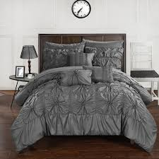 chic home cs3603 an 8 piece springfield fl pinch pleat ruffled designer embellished bed in a bag comforter set with sheet set twin charcoal