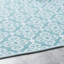 blue outdoor rug with white graphic
