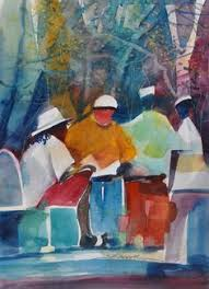 Small Picture City Stroll Watercolor Painting African American Art