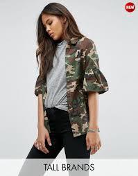 noisy may tall camo jacket with fluted sleeve jackets noisy may leather look biker jacket for
