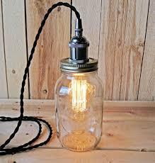 metallic socket with twisted cord mason jar light diy kit black metal