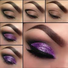 glittery purple look with winged eyeliner step by step eyeshadow tutorials