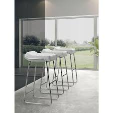 zuo wedge  in chrome cushioned bar stool (set of )