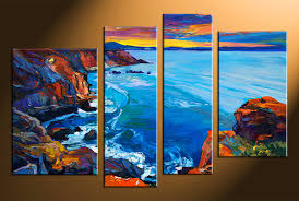 Small Picture 4 Piece Multi Panel Canvas Blue Ocean Oil Paintings