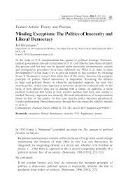 publication minding exceptions the politics of insecurity and publication minding exceptions the politics of insecurity and liberal democracy