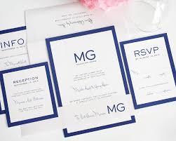 modern wedding invitations in blue monogram wedding invitations blue modern wedding invitations