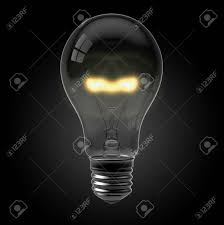 3d Render Of A Glowing Light Bulb On Black Stock Photo Picture And