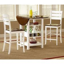 Storage Tables For Kitchen Ridgewood 3 Pc Counter Height Drop Leaf Dining Set White From