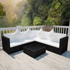 picture of outdoor furniture sectional sofa bed couch lounge set wicker poly rattan black
