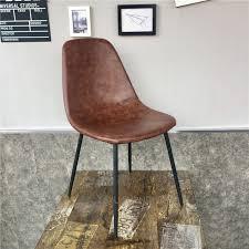 minimalist modern design pu leather pad metal leg dining chair cafe loft chair popular furniture leisure