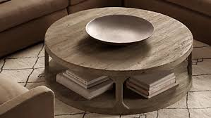 Coffee Table, Glamorous Gray Round Vintage Wood Rustic Round Coffee Table  Varnished Design: Captivating