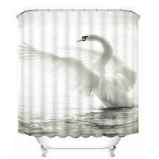 60 the spreading white swan print 3d bathroom shower curtain