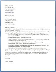 Fitness Cover Letters Fitness Manager Cover Letter Cover Letter For Resume