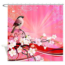 practical cherry blossom shower curtain y6934661 cherry blossom shower curtain red