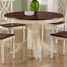 monarch specialties antique white walnut round dining table