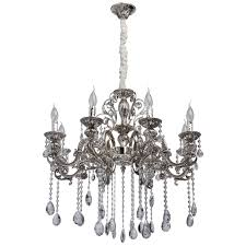 luxury classic 8 arm pendant chandelier in silver with crystal drops