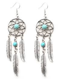 What Store Sells Dream Catchers 100 Faux Turquoise Dream Catcher Feather Earrings SILVER In 78