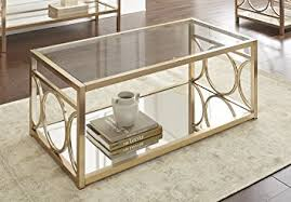 Amazing Steve Silver Olympia Glass Top Coffee Table In Gold Chrome