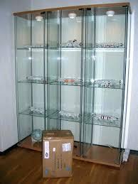 ikea glass case detolf glass door cabinet glass display cabinet light all lighted curio lock glass
