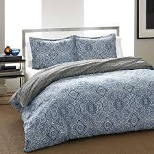 details about medallion print 2 piece reversible duvet cover set 100 cotton blue twin size