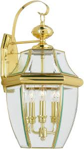 Solid Brass Outdoor Lighting Livex Lighting 2351 02 Monterey 3 Light Outdoor Polished Brass Finish Solid Brass Wall Lantern With Clear Beveled Glass