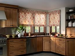kitchen eye catching roman shade combined with wooden wall bay window