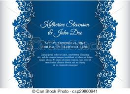 Wedding Invitation Background Blue Romantic Wedding Invitation With Blue Background And Floral Ornament As Decoration
