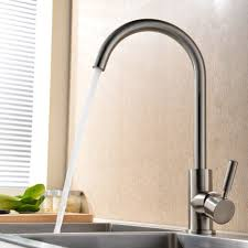 360 Degree Swivel Good Valued Modern Hot and Cold Mixer Single Handle  Brushed Steel Kitchen Sink
