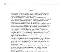 seamus heaney essay digging by seamus heaney essay seamus heaney  digging by seamus heaney essaydigging seamus heaney was born on on a farm in