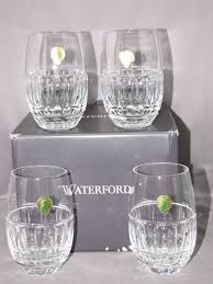 waterford crystal set 4 stemless wine glasses bolton pattern new