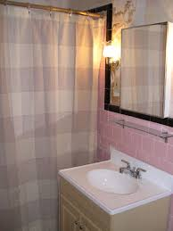 ... our-pink-tile-with-new-curtain ...