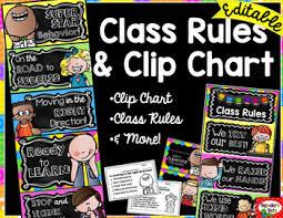 Chalkboard Brights Classroom Rules Chart Bright Chalkboard Classroom Rules Clip Chart More Editable