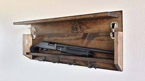 Rustic Wooden Coat Rack Rustic Wood Coat Rack Hidden Storage Shotgun Compartment Safe with 10